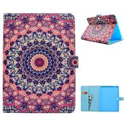 Orange Mandala Flower Folio Flip Stand Leather Wallet Case for Samsung Galaxy Tab 4 10.1 T530 T531 T533 T535
