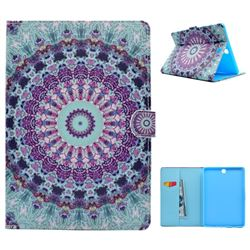 Mint Green Mandala Flower Folio Flip Stand Leather Wallet Case for Samsung Galaxy Tab A 9.7 T550 T555