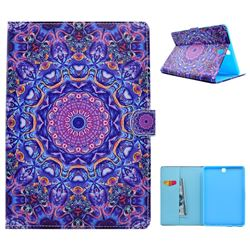 Purple Mandala Flower Folio Flip Stand Leather Wallet Case for Samsung Galaxy Tab A 9.7 T550 T555