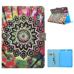 Colorful Mandala Flower Folio Flip Stand Leather Wallet Case for Samsung Galaxy Tab A 9.7 T550 T555