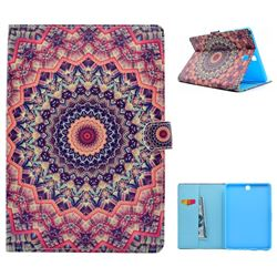 Orange Mandala Flower Folio Flip Stand Leather Wallet Case for Samsung Galaxy Tab A 9.7 T550 T555