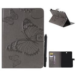 Embossing 3D Butterfly Leather Wallet Case for Samsung Galaxy Tab A 9.7 T550 T555 - Gray