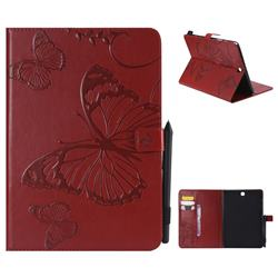 Embossing 3D Butterfly Leather Wallet Case for Samsung Galaxy Tab A 9.7 T550 T555 - Red