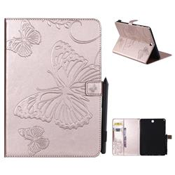 Embossing 3D Butterfly Leather Wallet Case for Samsung Galaxy Tab A 9.7 T550 T555 - Rose Gold