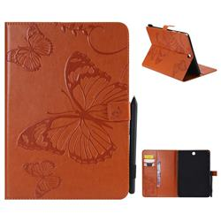 Embossing 3D Butterfly Leather Wallet Case for Samsung Galaxy Tab A 9.7 T550 T555 - Orange