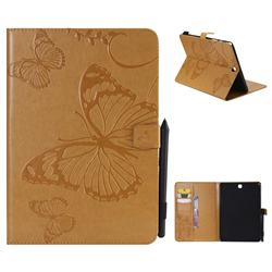Embossing 3D Butterfly Leather Wallet Case for Samsung Galaxy Tab A 9.7 T550 T555 - Yellow