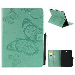 Embossing 3D Butterfly Leather Wallet Case for Samsung Galaxy Tab A 9.7 T550 T555 - Green