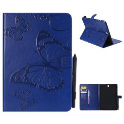Embossing 3D Butterfly Leather Wallet Case for Samsung Galaxy Tab A 9.7 T550 T555 - Blue