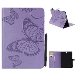 Embossing 3D Butterfly Leather Wallet Case for Samsung Galaxy Tab A 9.7 T550 T555 - Purple