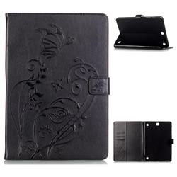 Embossing Butterfly Flower Leather Wallet Case for Samsung Galaxy Tab A 9.7 T550 T555 - Black