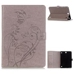 Embossing Butterfly Flower Leather Wallet Case for Samsung Galaxy Tab A 9.7 T550 T555 - Red