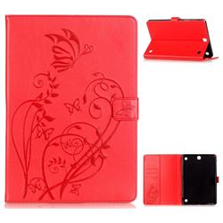 Embossing Butterfly Flower Leather Wallet Case for Samsung Galaxy Tab A 9.7 T550 T555 - Rose