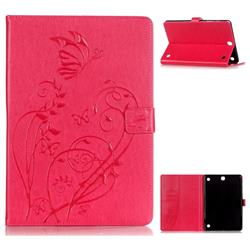 Embossing Butterfly Flower Leather Wallet Case for Samsung Galaxy Tab A 9.7 T550 T555 - Pink