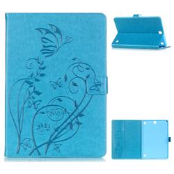 Embossing Butterfly Flower Leather Wallet Case for Samsung Galaxy Tab A 9.7 T550 T555 - Champagne