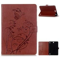 Embossing Butterfly Flower Leather Wallet Case for Samsung Galaxy Tab A 9.7 T550 T555 - Brown