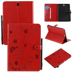 Embossing Bee and Cat Leather Flip Cover for Samsung Galaxy Tab A 9.7 T550 T555 - Red