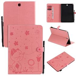Embossing Bee and Cat Leather Flip Cover for Samsung Galaxy Tab A 9.7 T550 T555 - Pink