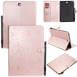 Embossing Bee and Cat Leather Flip Cover for Samsung Galaxy Tab A 9.7 T550 T555 - Rose Gold