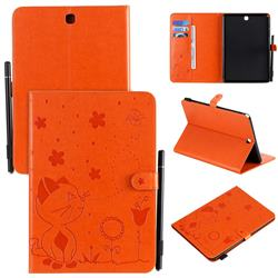 Embossing Bee and Cat Leather Flip Cover for Samsung Galaxy Tab A 9.7 T550 T555 - Orange
