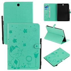 Embossing Bee and Cat Leather Flip Cover for Samsung Galaxy Tab A 9.7 T550 T555 - Green