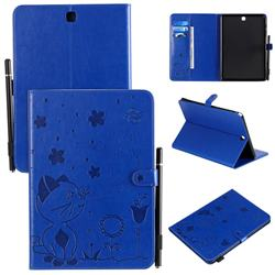 Embossing Bee and Cat Leather Flip Cover for Samsung Galaxy Tab A 9.7 T550 T555 - Blue