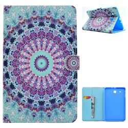 Mint Green Mandala Flower Folio Flip Stand Leather Wallet Case for Samsung Galaxy Tab E 9.6 T560 T561