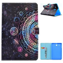 Universe Mandala Flower Folio Flip Stand Leather Wallet Case for Samsung Galaxy Tab E 9.6 T560 T561