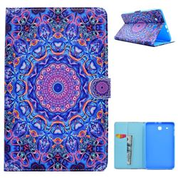 Purple Mandala Flower Folio Flip Stand Leather Wallet Case for Samsung Galaxy Tab E 9.6 T560 T561
