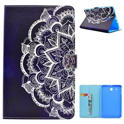 Half Lace Mandala Flower Folio Flip Stand Leather Wallet Case for Samsung Galaxy Tab E 9.6 T560 T561