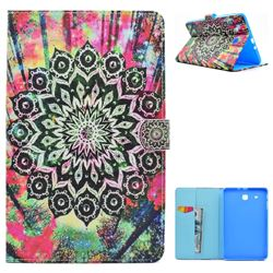 Colorful Mandala Flower Folio Flip Stand Leather Wallet Case for Samsung Galaxy Tab E 9.6 T560 T561