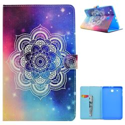 Sky Mandala Flower Folio Flip Stand Leather Wallet Case for Samsung Galaxy Tab E 9.6 T560 T561