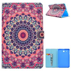 Orange Mandala Flower Folio Flip Stand Leather Wallet Case for Samsung Galaxy Tab E 9.6 T560 T561