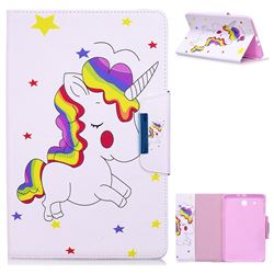 Rainbow Unicorn Folio Flip Stand Leather Wallet Case for Samsung Galaxy Tab E 9.6 T560 T561
