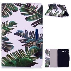 Green Leaves Folio Flip Stand Leather Wallet Case for Samsung Galaxy Tab E 9.6 T560 T561