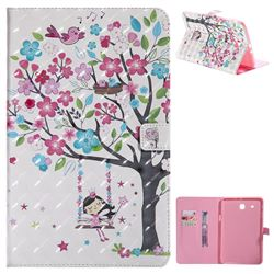 Flower Tree Swing Girl 3D Painted Tablet Leather Wallet Case for Samsung Galaxy Tab E 9.6 T560 T561