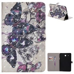 Black Butterfly 3D Painted Tablet Leather Wallet Case for Samsung Galaxy Tab E 9.6 T560 T561