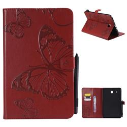 Embossing 3D Butterfly Leather Wallet Case for Samsung Galaxy Tab E 9.6 T560 T561 - Red