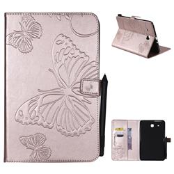 Embossing 3D Butterfly Leather Wallet Case for Samsung Galaxy Tab E 9.6 T560 T561 - Rose Gold