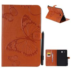Embossing 3D Butterfly Leather Wallet Case for Samsung Galaxy Tab E 9.6 T560 T561 - Orange