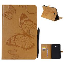 Embossing 3D Butterfly Leather Wallet Case for Samsung Galaxy Tab E 9.6 T560 T561 - Yellow