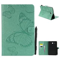 Embossing 3D Butterfly Leather Wallet Case for Samsung Galaxy Tab E 9.6 T560 T561 - Green