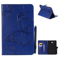 Embossing 3D Butterfly Leather Wallet Case for Samsung Galaxy Tab E 9.6 T560 T561 - Blue