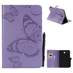 Embossing 3D Butterfly Leather Wallet Case for Samsung Galaxy Tab E 9.6 T560 T561 - Purple