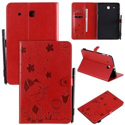 Embossing Bee and Cat Leather Flip Cover for Samsung Galaxy Tab E 9.6 T560 T561 - Red