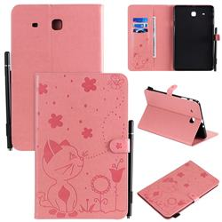 Embossing Bee and Cat Leather Flip Cover for Samsung Galaxy Tab E 9.6 T560 T561 - Pink