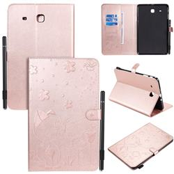 Embossing Bee and Cat Leather Flip Cover for Samsung Galaxy Tab E 9.6 T560 T561 - Rose Gold