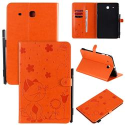 Embossing Bee and Cat Leather Flip Cover for Samsung Galaxy Tab E 9.6 T560 T561 - Orange