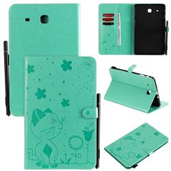 Embossing Bee and Cat Leather Flip Cover for Samsung Galaxy Tab E 9.6 T560 T561 - Green