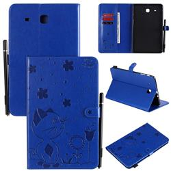 Embossing Bee and Cat Leather Flip Cover for Samsung Galaxy Tab E 9.6 T560 T561 - Blue