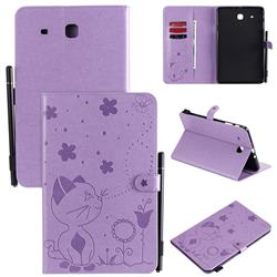 Embossing Bee and Cat Leather Flip Cover for Samsung Galaxy Tab E 9.6 T560 T561 - Purple